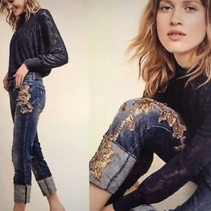 Anthropologie Pilcro Gold Sequin Cropped Jeans 25